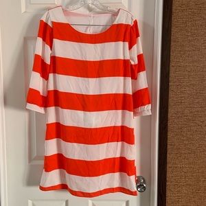 My Story Orange/White Striped Shift Dress Medium